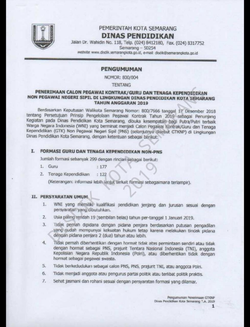 Lowongan Kerja Lowongan Kerja Dinas Pendidikan Semarang 2019