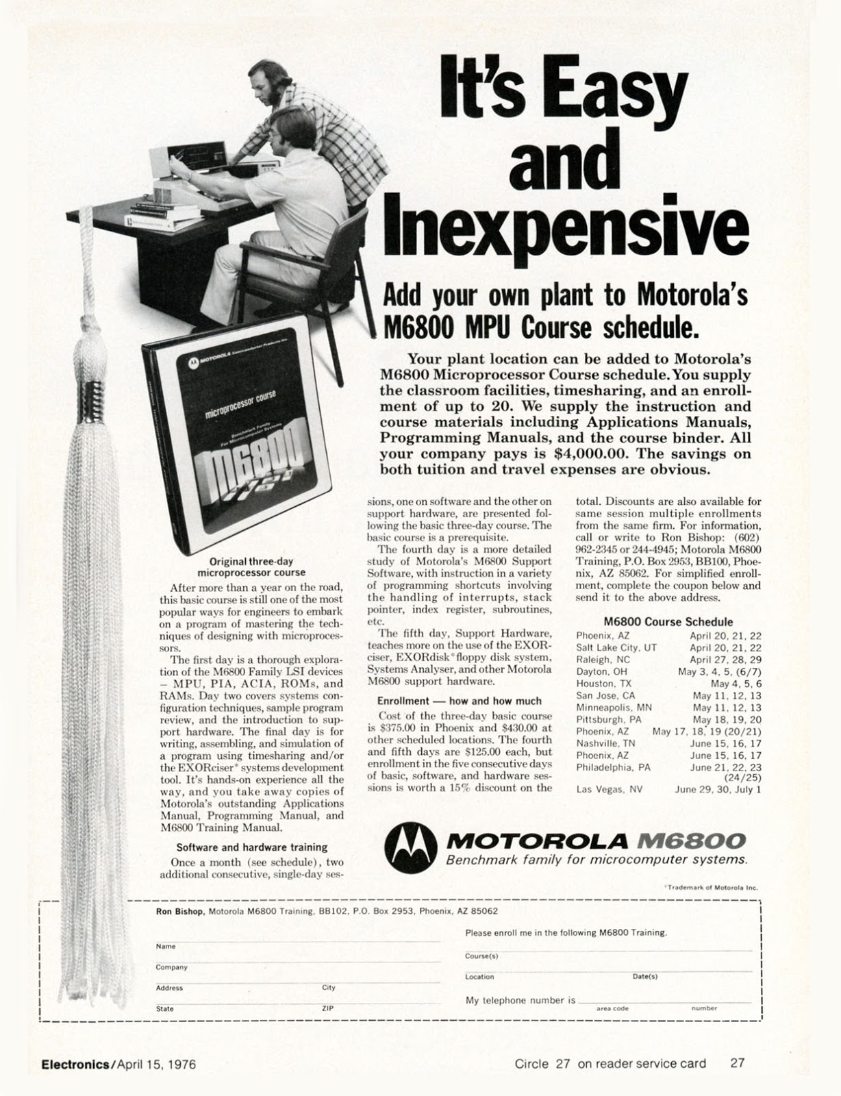 Old Ads Are Funny: 1976 ad: Motorola's M6800 MPU Course