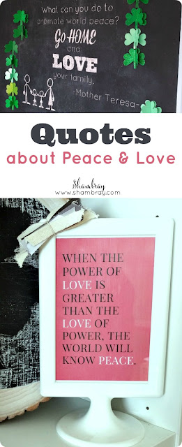 Quotes about Peace and Love chalkboard art and printable