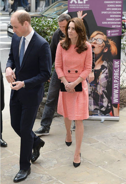 Prince William, Duke of Cambridge and Catherine, Duchess of Cambridge visit the mentoring programme of the XLP project. The Duchess wore EPONİNE London Dress- SS16 Collection