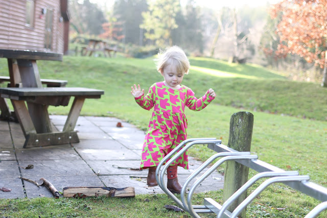 toddler girl wearing long dress green and pink bird print from me&i clothing