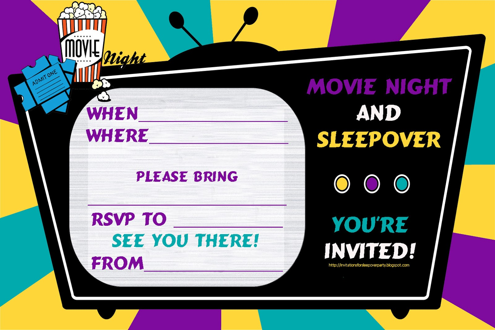 Awesome Movie And Sleepover Party Invitation Admit One ...