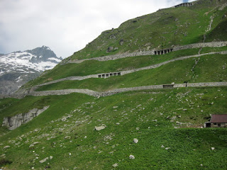 View of the hairpins on the western side of the Furkapass from below, Switzerland