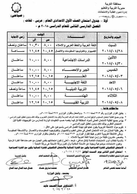 جدول امتحانات محافظة الغربيه الترم الثانى كاملا جميع المراحل (ابتدائى - اعدادى - ثانوى ) 2018