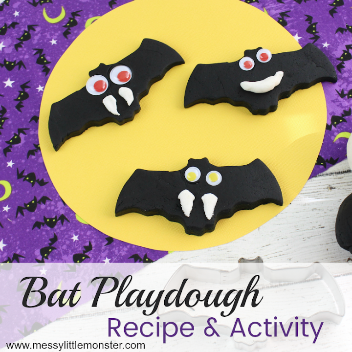 Bat playdough activity - Halloween bat crafts for kids