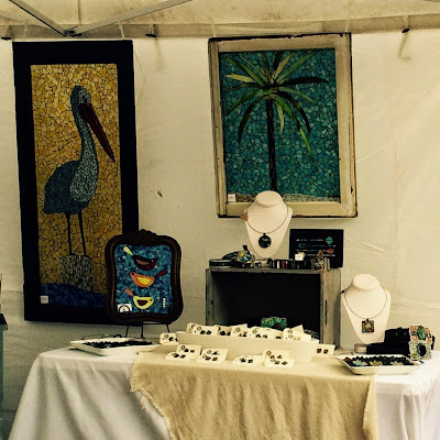 Summerville Flowertown Festival 2015 - RJK Glass Bird and Palm Tree Mosaic | The Lowcountry Lady