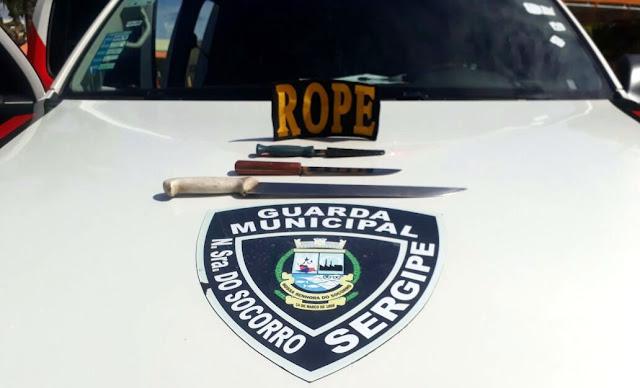 Guarda de Socorro apreende drogas e armas brancas durante o final de semana