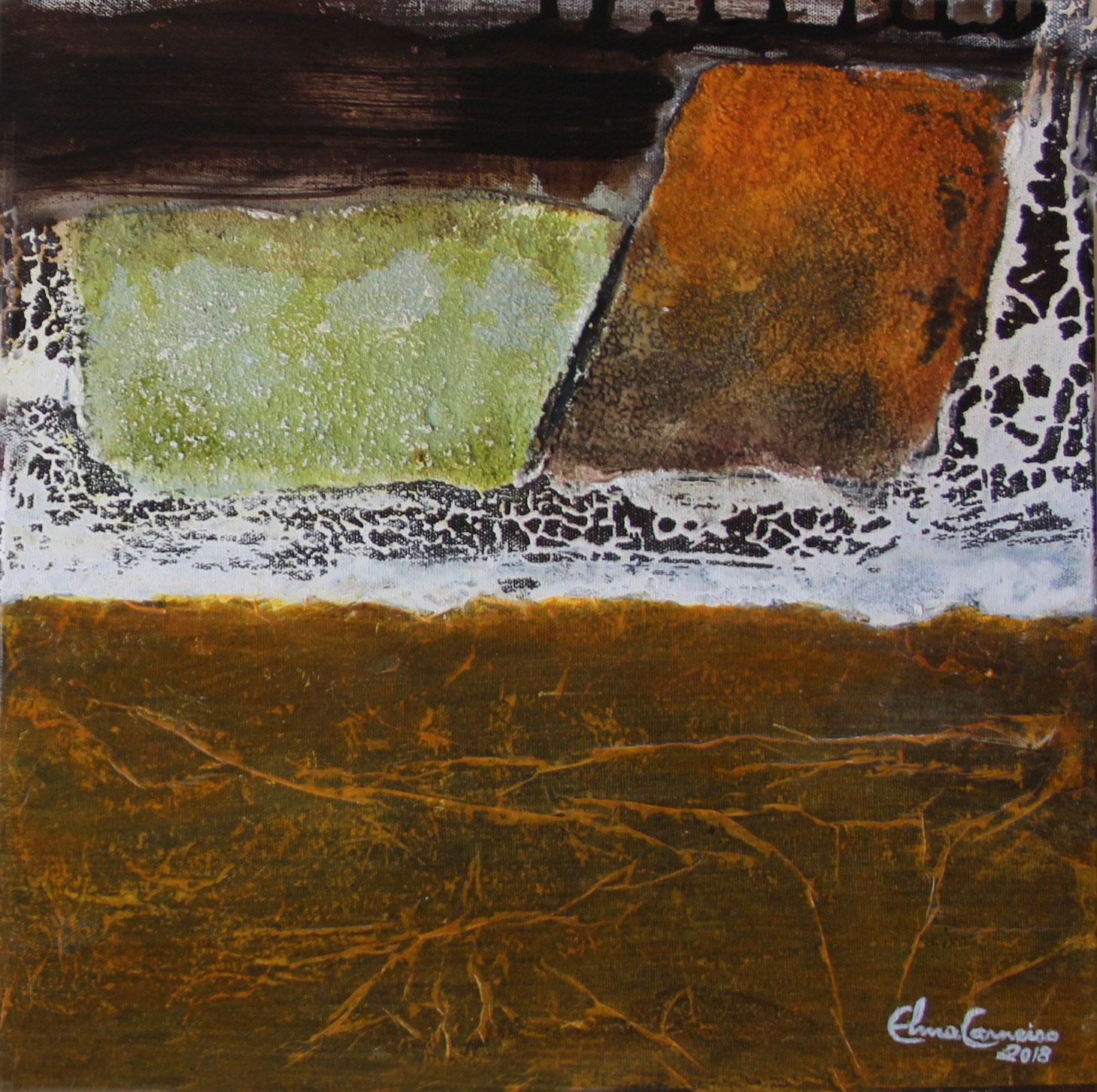 Obra com fundo de betume, texturas de pó de mármore,pigmentos.Arte abstrata de Elma Carneiro - Goiânia-GO