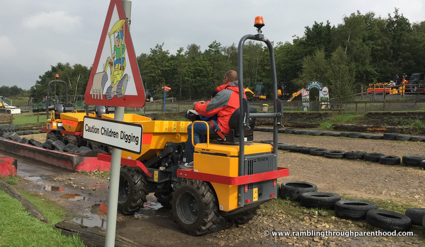Dumping trucks at Diggerland