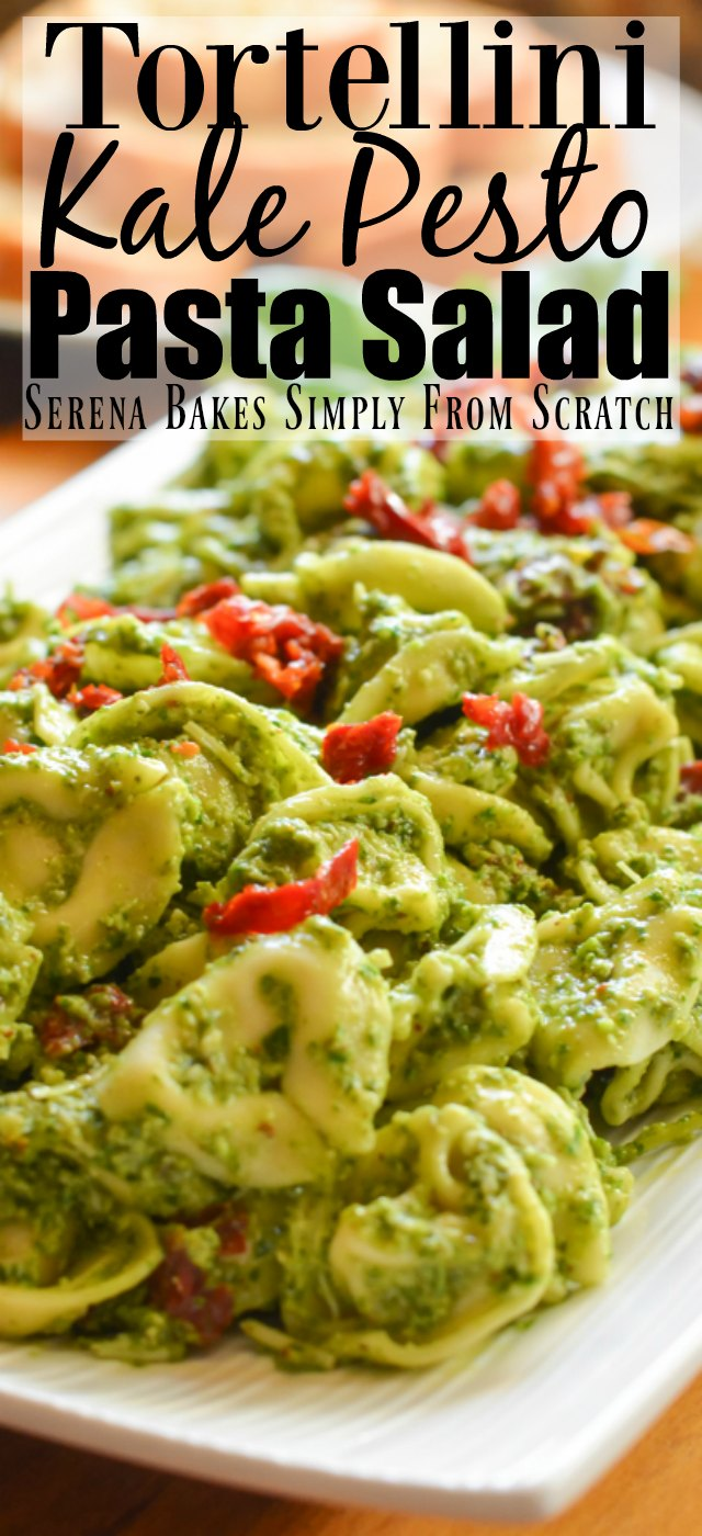 Easy to make Tortellini Kale Pesto Pasta Salad with step-by-step photo instructions.