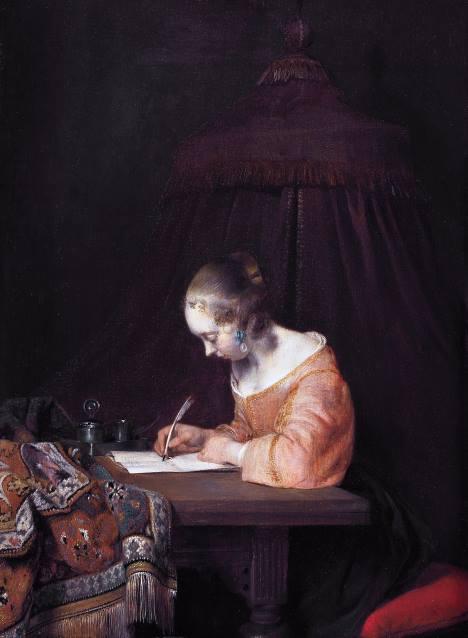 #PraCegoVer: Mulher Escrevendo uma Carta, pintura de Gerard Ter Borch.