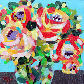 Flower painting by Pennsylvania artist Merrill Weber framed original acrylic on canvas 6 x 6 Celebration 119