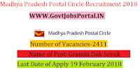 Madhya Pradesh Postal Circle Recruitment 2018 – 2411 Gramin Dak Sevak