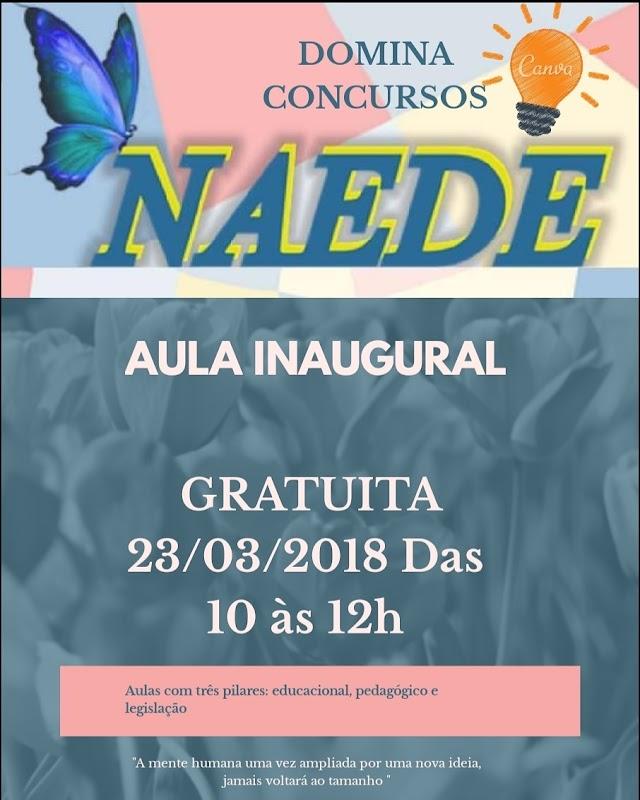CONVITE: Aula inaugural do NAEDE, dia 23, às 10h