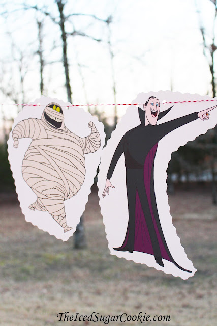 Hotel Transylvania Birthday Party DIY Idea Garland Banner Flag Bunting-Mavis Dracula, Dracula, Murray, Wayne, Frankenstein, Winnie Wolf Pup