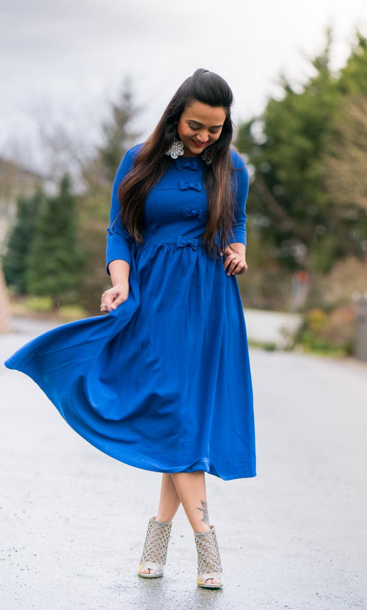 Dainty Jewells dress, blue dress, long dress, ananya, glitter heels, seattle blogger