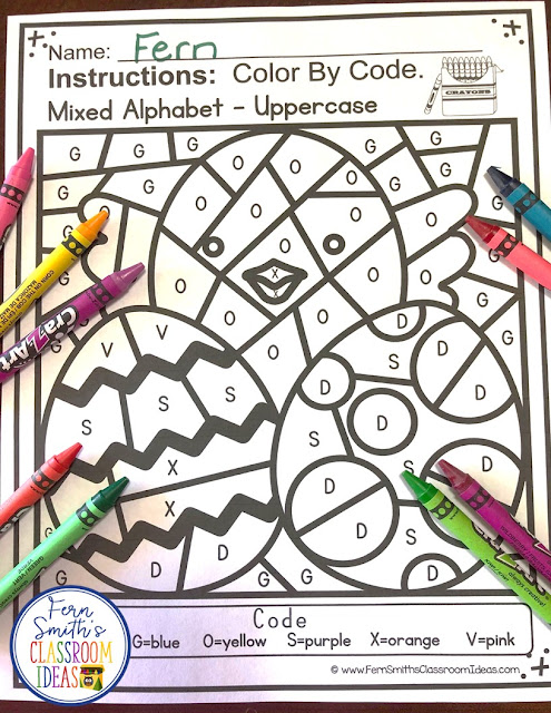 Your students will adore these Easter Color By Code worksheets while learning and reviewing the uppercase and lowercase alphabet at the same time! You will love the no prep, print and go ease of these printables. As always, answer keys are included. TEN Color By Code Easter Mixed Alphabet Uppercase and Lowercase for Kindergarten, a Color By Code Printables for some Easter and Spring Fun in your Classroom! Ten adorable matching Easter Color Your Answers worksheets and ten ANSWER KEYS for Easter. Perfect for your Kindergarten class during Spring for your countdown to the end of the year! Terrific for review and rti small groups. Color By Code Easter Mixed Alphabet Uppercase and Lowercase for Kindergarten Worksheets. #FernSmithsClassroomIdeas
