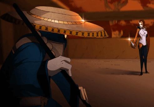 Animação do lol ilustrando match up Jax vs Fiora assim como la lore, Jax ganha todas!
