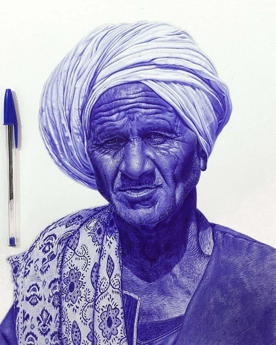 10-Intricate-Textiles-Mostafa-Khodeir-Celebrities-and-Non-Ballpoint-Pen-Portraits-www-designstack-co