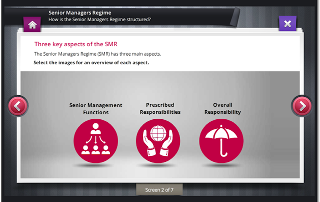 Screen grab of Senior Managers Regime eLearning course
