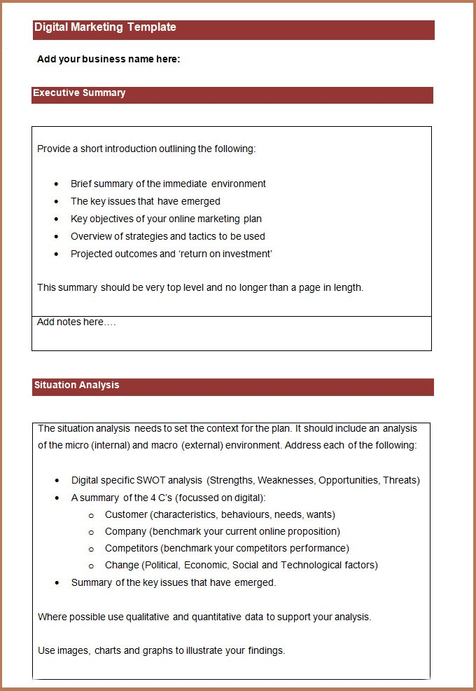 Free Online Business Plan Template 2017 | Resume Business Template