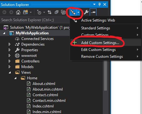 Adding custom file settings