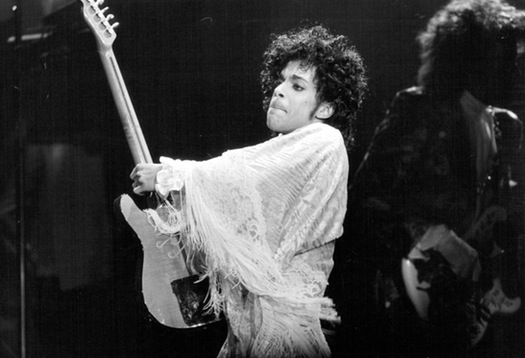 Prince black and white photograph with electric guitar