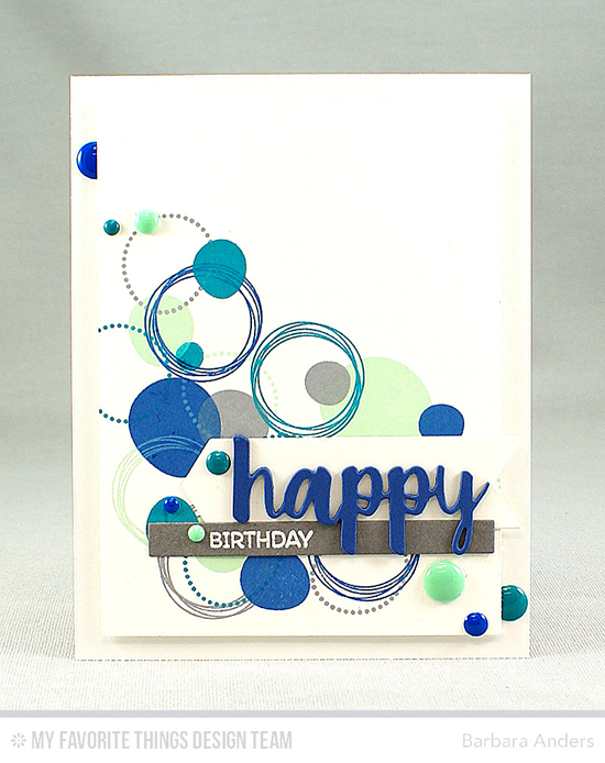 Handmade card from Barbara Anders featuring Party Patterns and Birdie Brown Birthday Bears stamp sets, Cause for Celebration and Blueprints 22 Die-namics #mftstamps