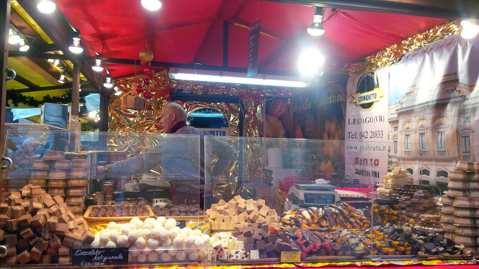 A chocolate stall at the Christmas market in Verona