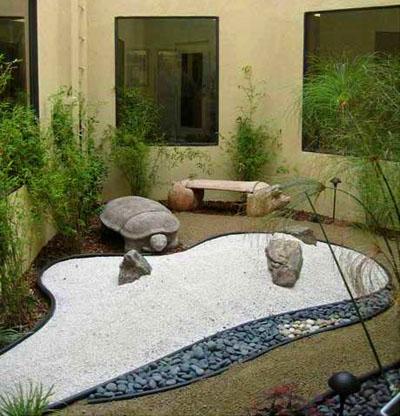 foto jardin zen patio interior