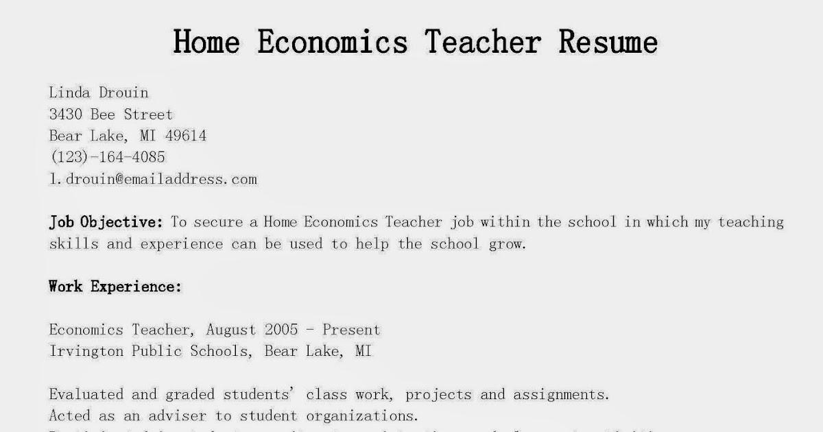 home economics teacher resume example