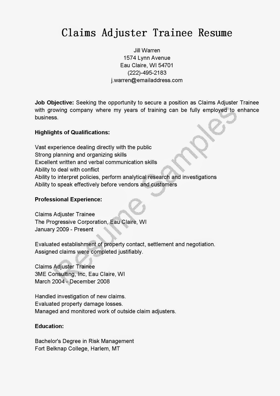 Resume samples claims adjuster trainee resume sample for Cover letter for claims adjuster position