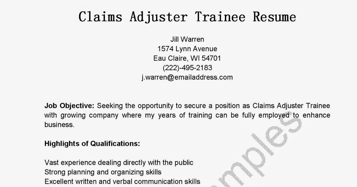 resume cover letters resume samples claims adjuster trainee resume sample 1574