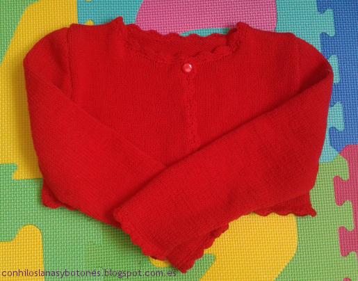 conhiloslanasybotones - chaqueta roja de punto para niña