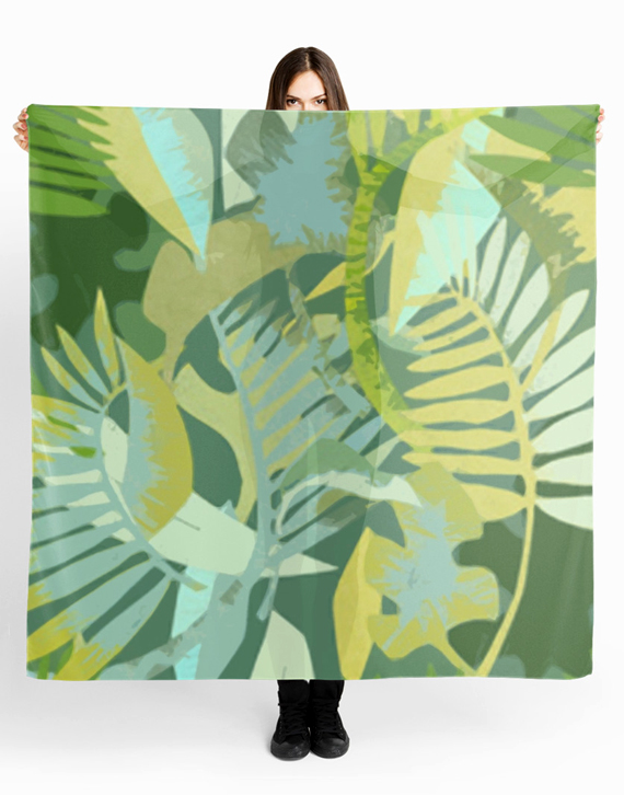 scarf printed in botanical pattern, greenery pantone 2017 color