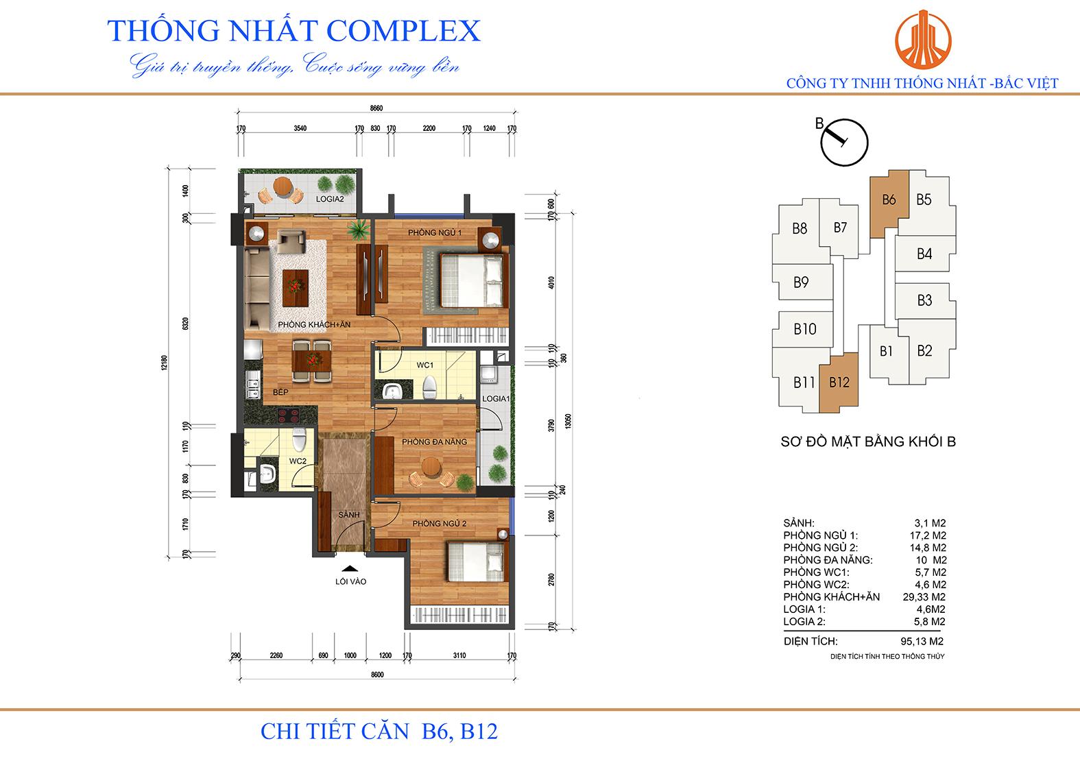 Thiết kế mặt bằng căn hộ 95m2 dự án Thống Nhất Complex