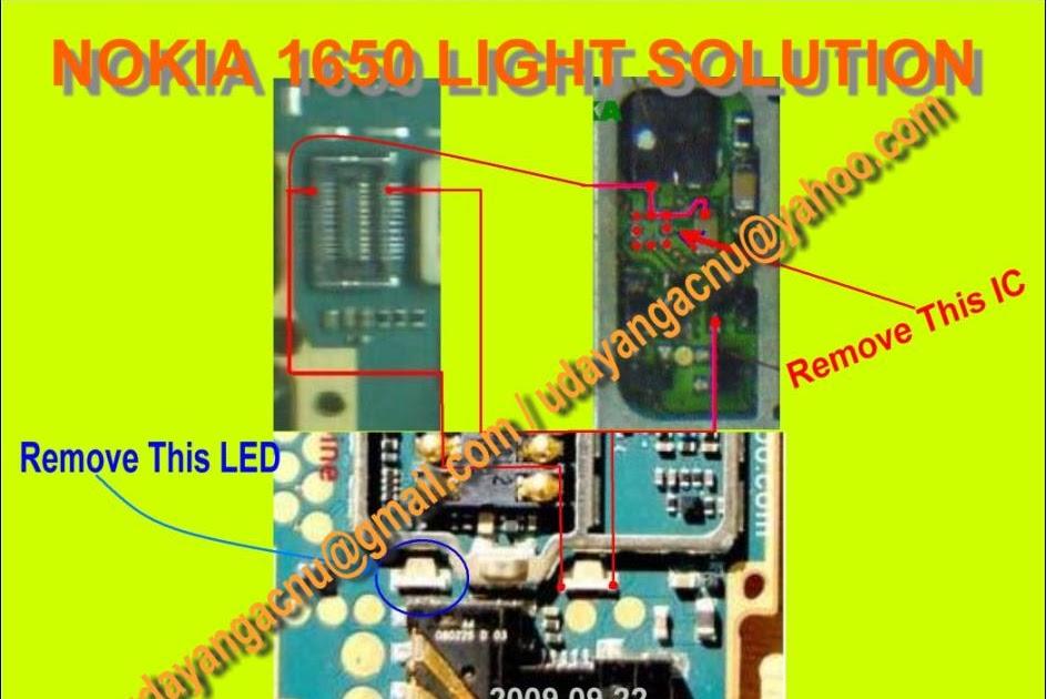 Mobile Diagram with Repairing hardware: nokia 1650 light solution