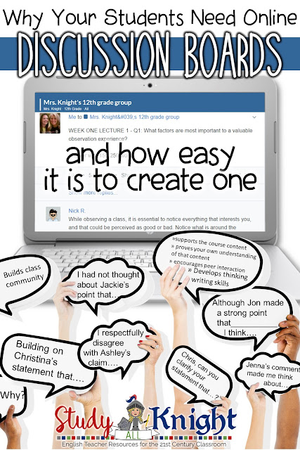 Teachers can use learning management systems (Google Classroom, Blackboard, Edmodo, Canvas) to create an online discussion board for their students. Secondary classroom teachers should include online discussion boards as a part of the curriculum. Provide opportunities to learn a twenty-first century skill for higher education. All subjects, grades 6, 7, 8, 9, 10, 11, 12.