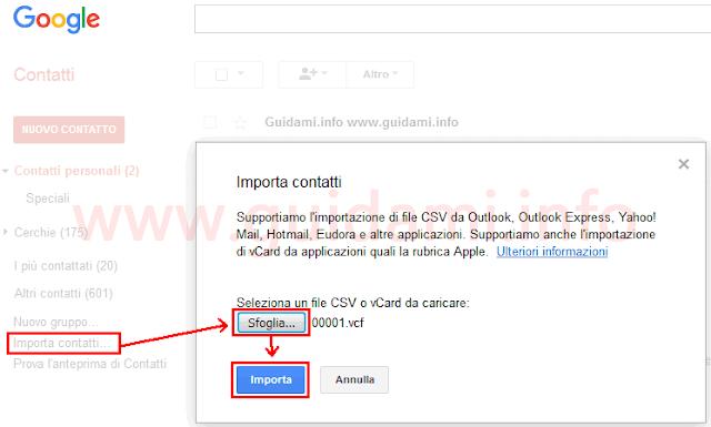 Importare contatti Android su account Google Contatti