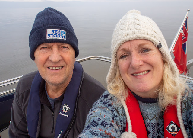 Photo of Phil and I on Ravensdale's aft deck on the Solway Firth
