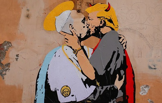 Devil' Trump Kisses The Pope In Life Sized Mural]