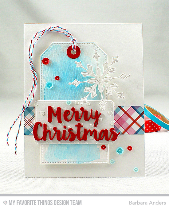 Handmade card from Barbara Anders featuring Stitched Traditional Tag STAX, Merry Christmas, Stylish Snowflakes, and Blueprints 19 Die-namics, Snowfall stencil #mftstamps