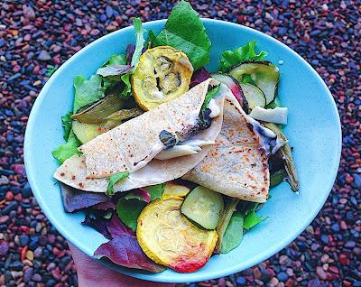 5-Minute Crunchy Greens Quesadilla (Gluten Free, Vegan)