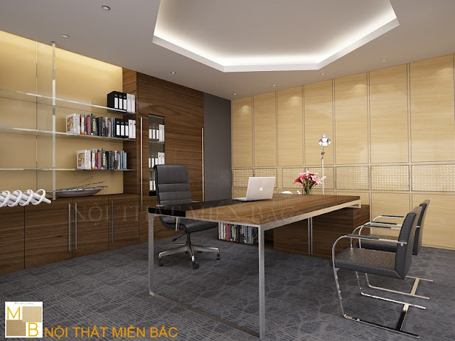 Lựa chọn tủ tài liệu giám đốc cao cấp sang trọng chất liệu gỗ veneer với sắc vàng giúp tôn lên điểm nhấn cho căn phòng