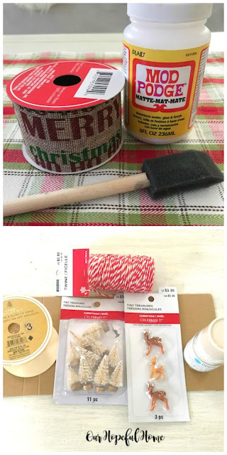 mod podge ribbon sponge brush twine bottle brush tree deer figurine glitter