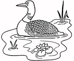 Adorable Goose in the Lake Coloring Pages