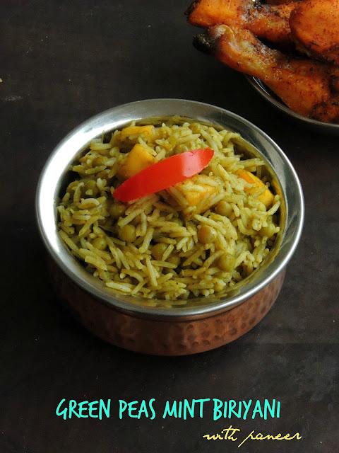 Paneer & Peas Biriyani,Pattani pudhina biriyani, Green peas mint biriyani