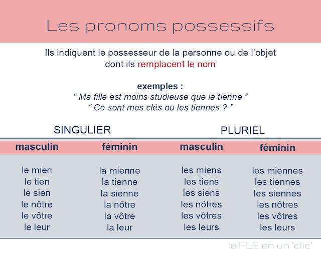 les pronoms possessifs, grammaire, FLE, le FLE en un 'clic'