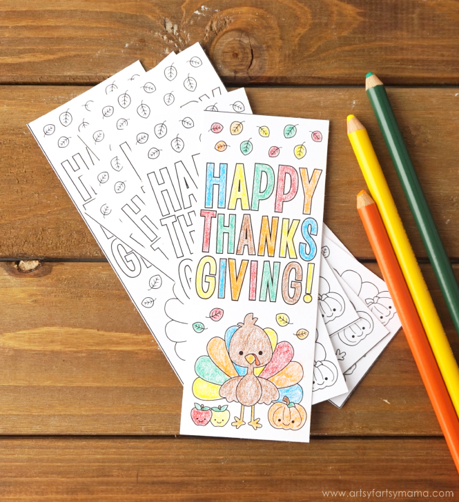 Free Printable Coloring Thanksgiving Bookmarks