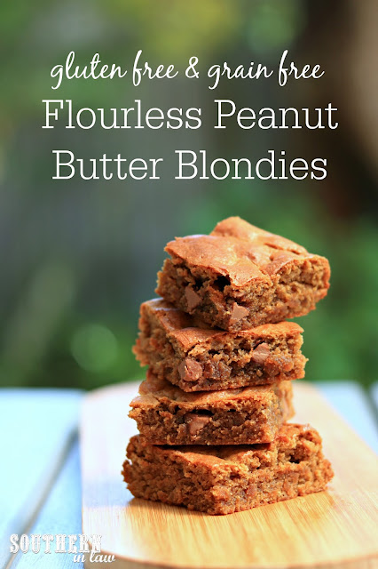 Easy Flourless Peanut Butter Blondies Recipe - gluten free, grain free, healthy, sugar free, clean eating dessert recipe